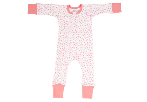 Organic Cotton Zip Romper - AUTUMN LEAVES PINK