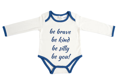 Organic Cotton Long Sleeve Bodysuit - BE BRAVE NAVY
