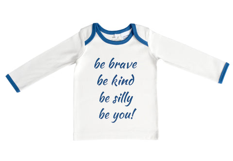 Organic Cotton Long Sleeve Baby T-Shirt - BE BRAVE NAVY