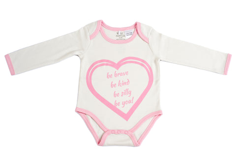 Organic Cotton Long Sleeve Bodysuit - BE BRAVE CANDYPINK