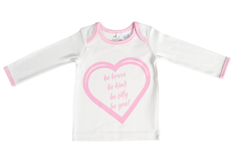 Organic Cotton Long Sleeve Baby T-Shirt - BE BRAVE CANDYPINK