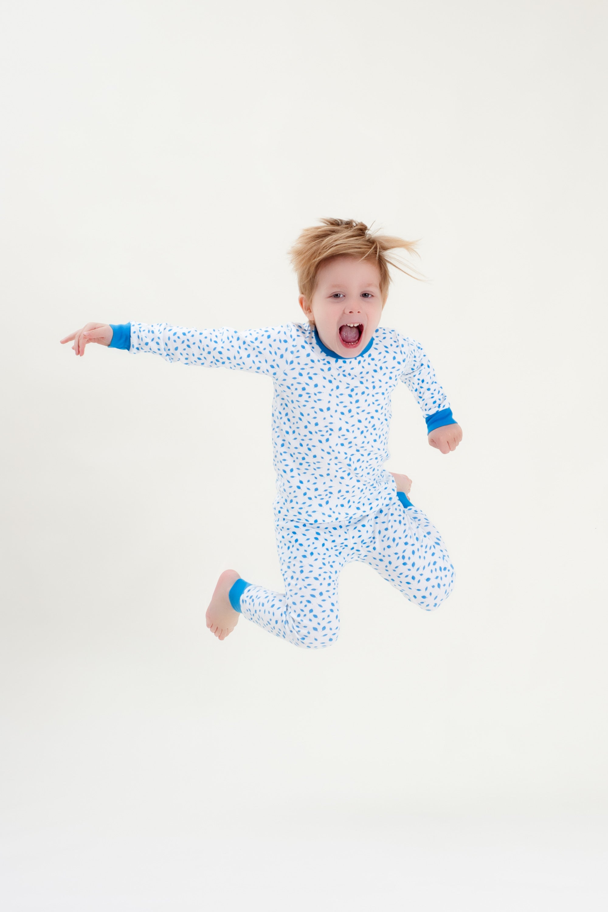 Organic Cotton Boys Long John PJ Set - AUTUMN LEAVES BLUE