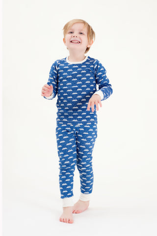 Organic Cotton Kids Long John PJ Set - SNOW MOUNTAIN NAVY