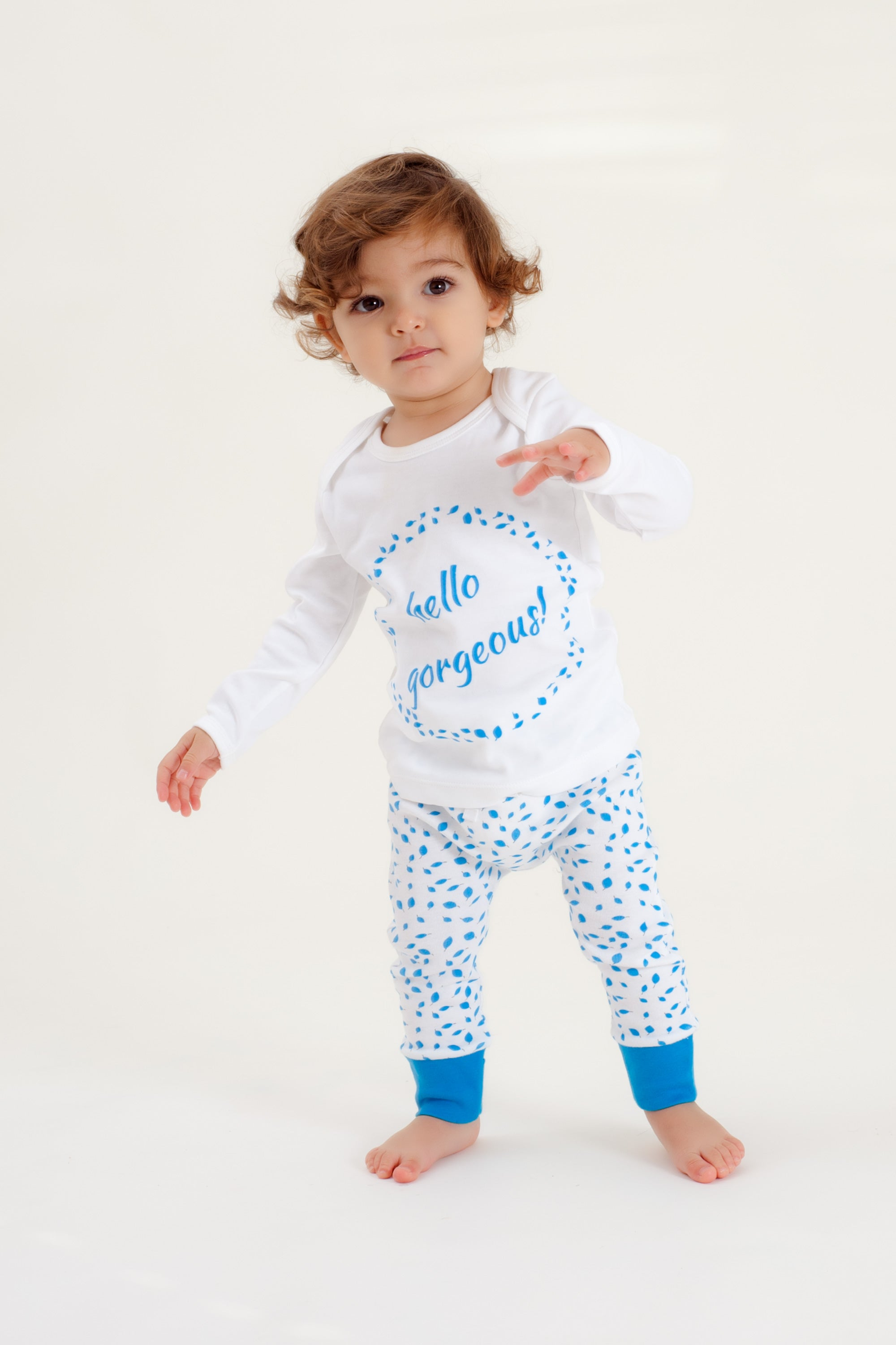 Organic Cotton Baby Pant - AUTUMN LEAVES BLUE