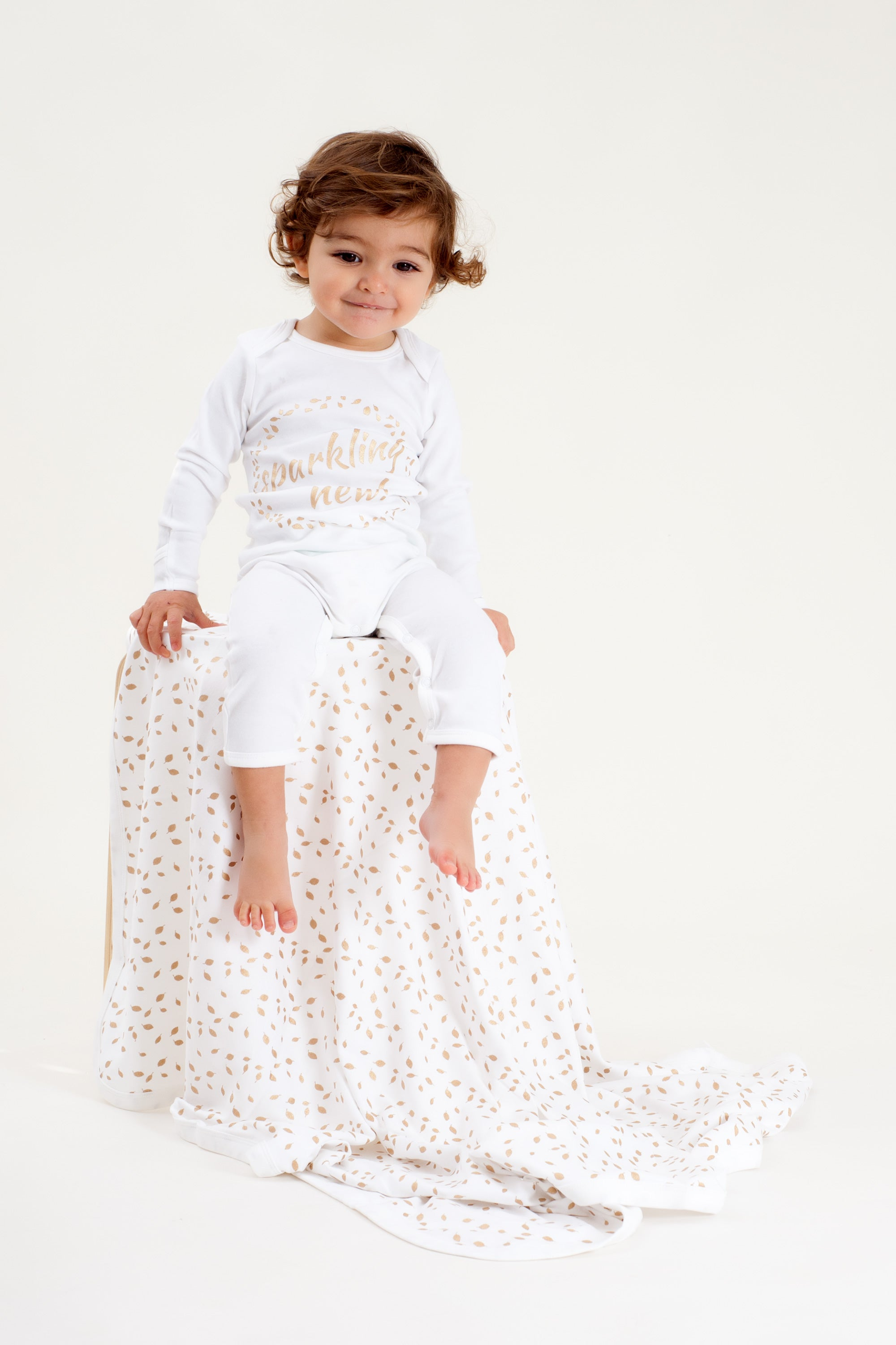 Organic Cotton Baby Growsuit - SPARKLING NEW GOLD