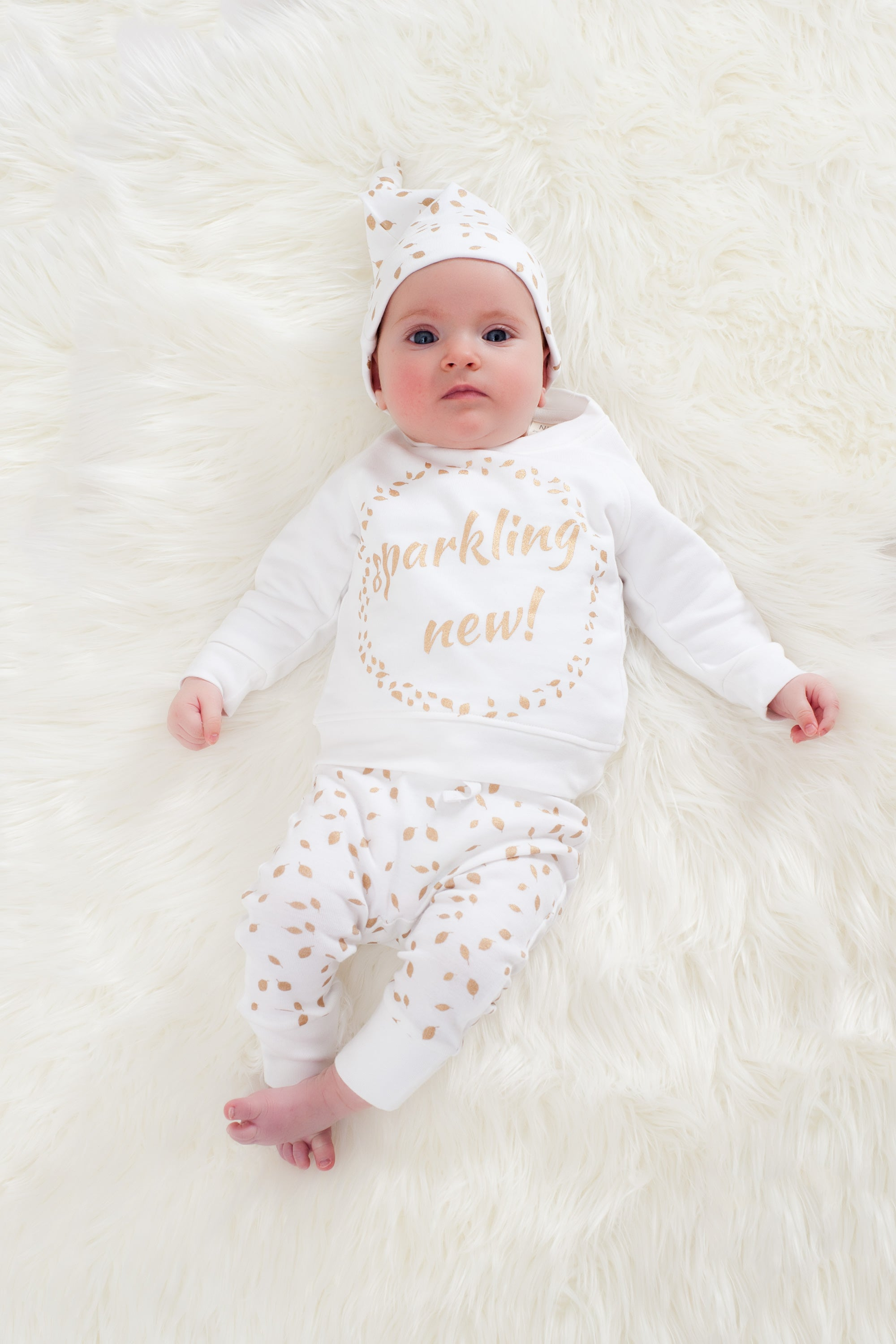 Organic Cotton Baby Sweatshirt - SPARKLING NEW GOLD