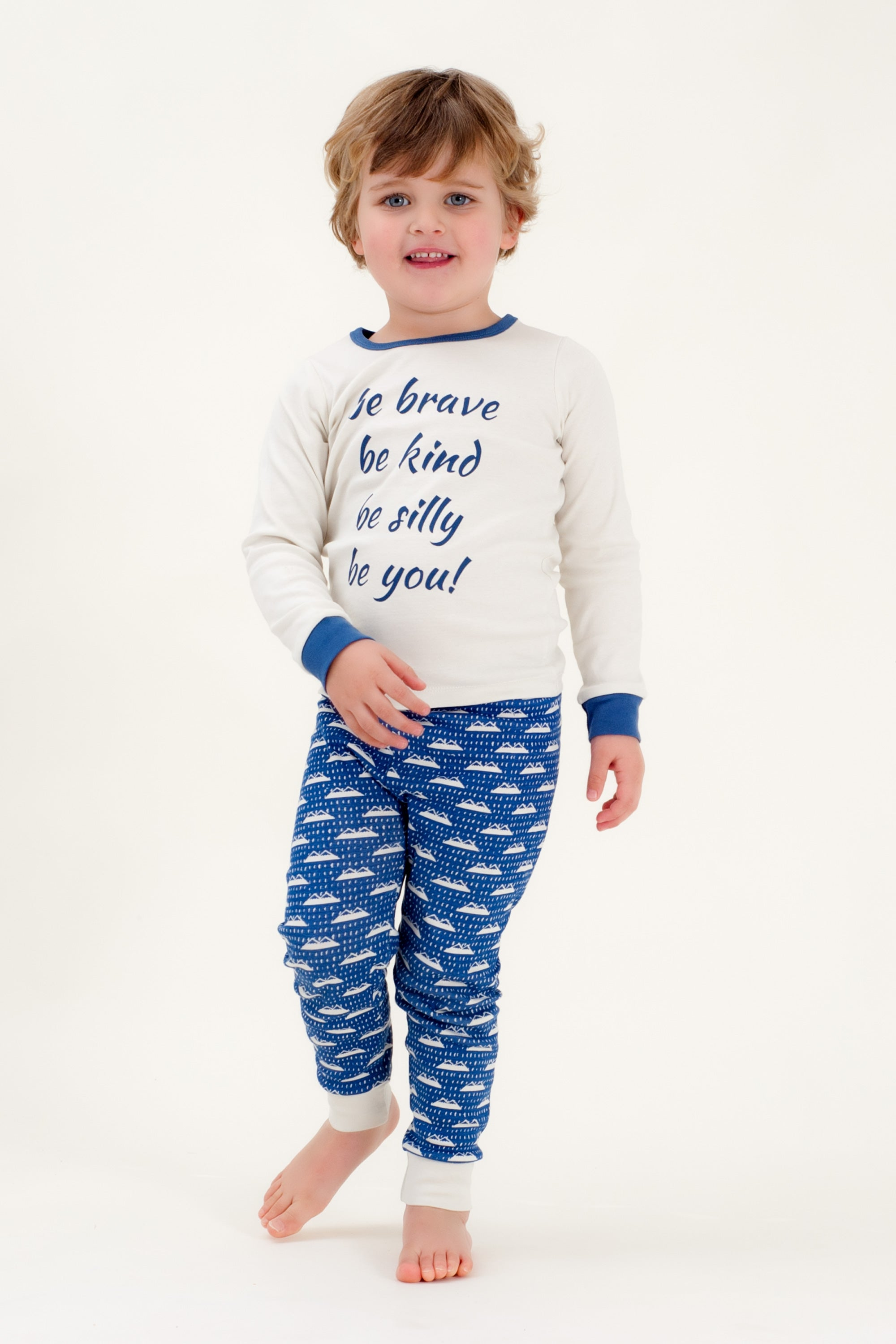 Organic Cotton Kids Long John PJ Set - BE BRAVE NAVY