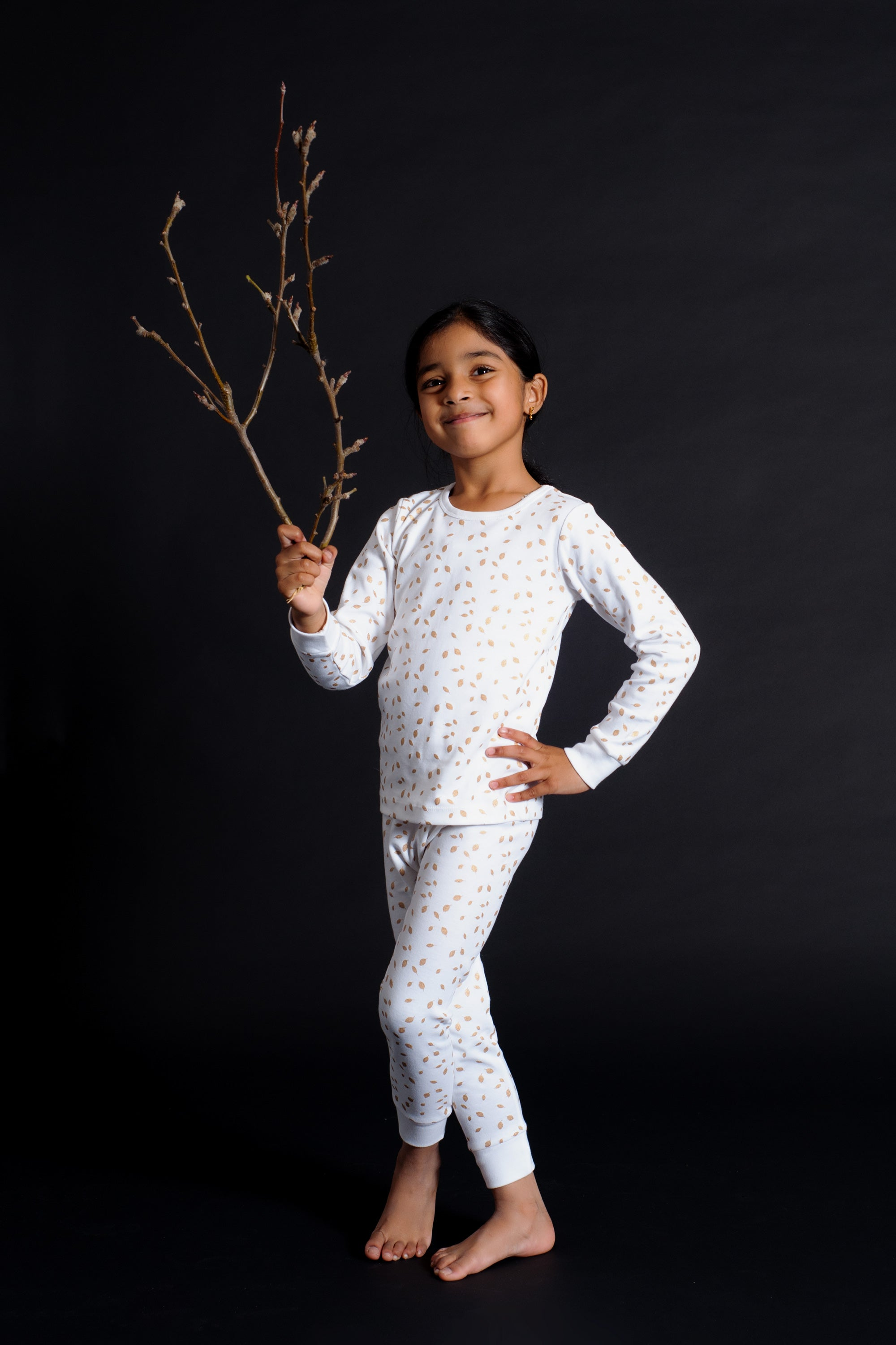 Organic Cotton Kids Long John PJ Set - AUTUMN LEAVES GOLD