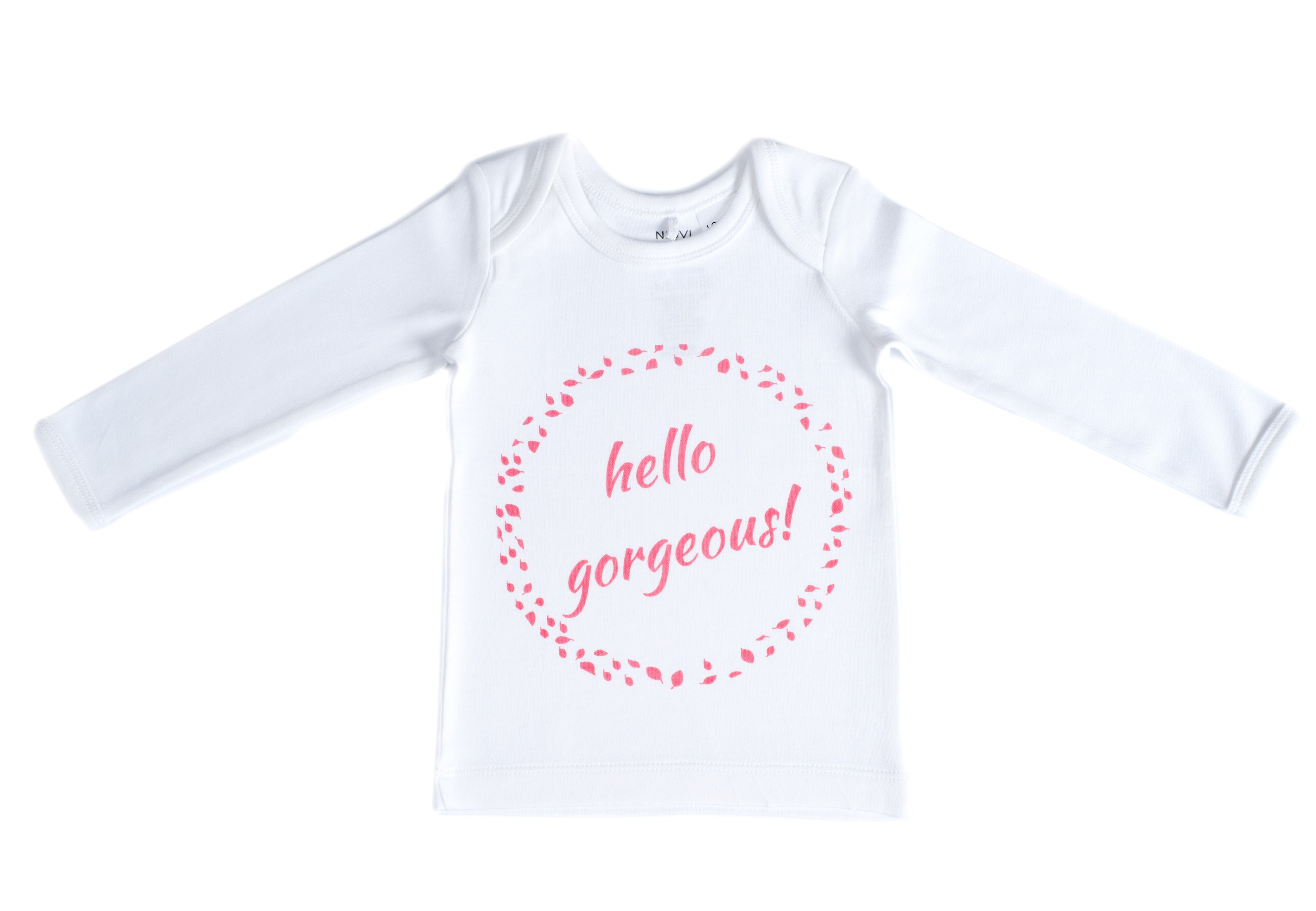 Organic Cotton Long Sleeve Baby T-Shirt - HELLO GORGEOUS PINK