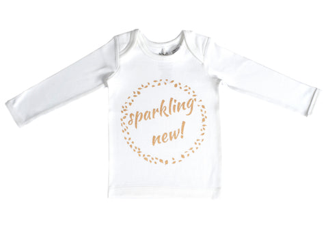 Organic Cotton Long Sleeve Baby T-Shirt - SPARKLING NEW GOLD