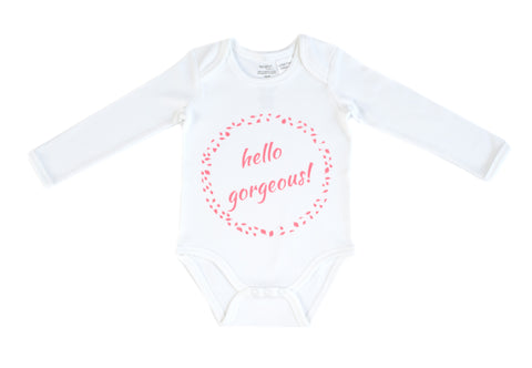 Organic Cotton Long Sleeve Bodysuit - HELLO GORGEOUS PINK
