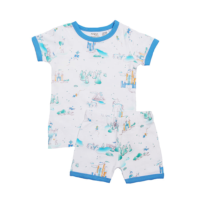 Organic Cotton Kids Short John PJ Set - Springtime Play