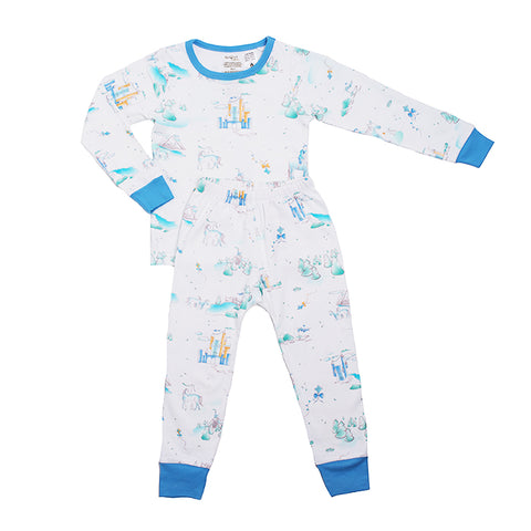 Organic Cotton Kids Long John PJ Set - Springtime Play