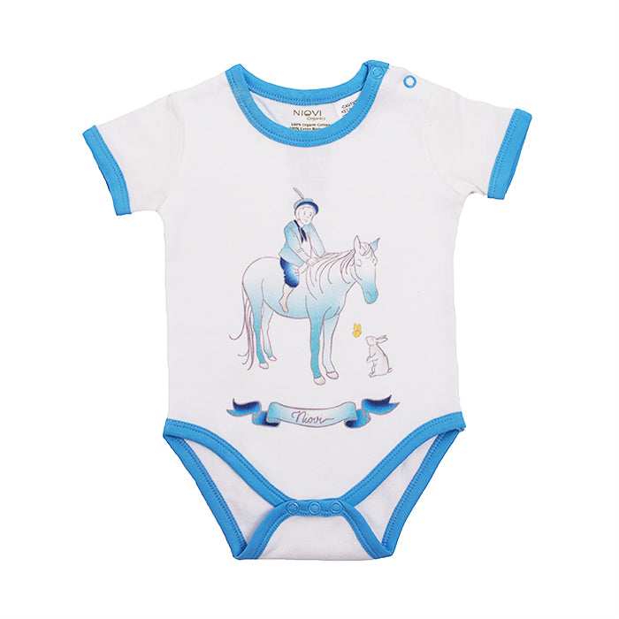 Organic Cotton Short Sleeve Bodysuit - Springtime Play Prince