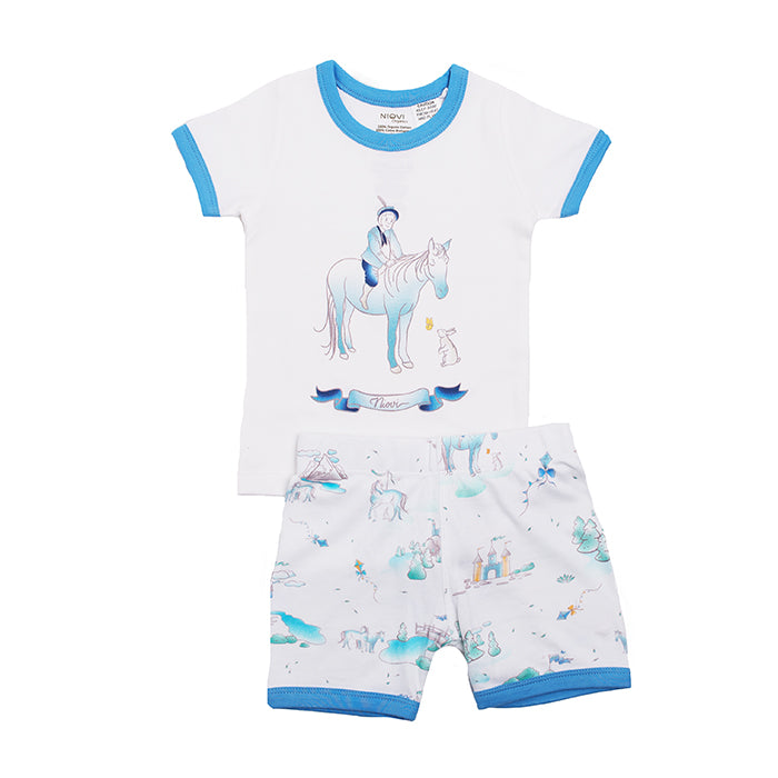 Organic Cotton Kids Short John PJ Set - Springtime Prince