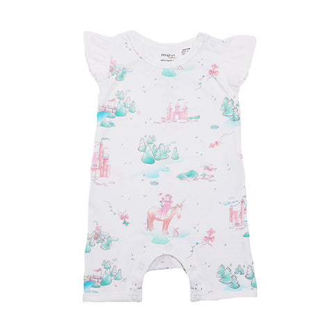 Organic Cotton Flutter Sleeve Summer Growsuit - Springtime Dream