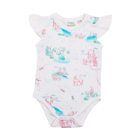 Organic Cotton Flutter Short Sleeve Bodysuit - Springtime Dream