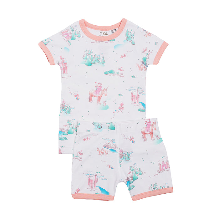 Organic Cotton Kids Short John PJ Set - Springtime Dream