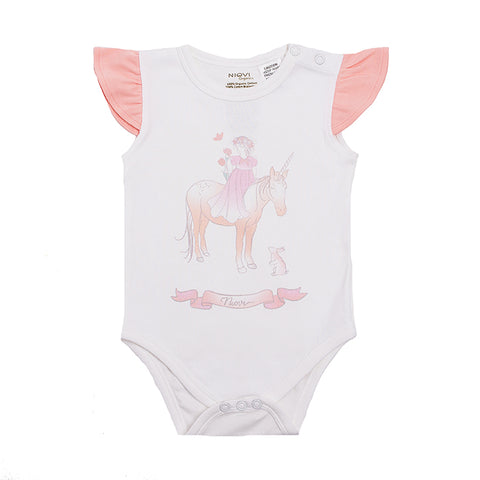Organic Cotton Flutter Short Sleeve Bodysuit - Springtime Princess