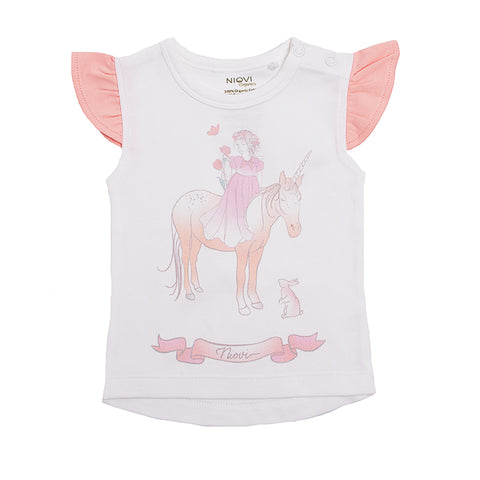 Organic Cotton Short Sleeve Baby T-Shirt - Springtime Princess