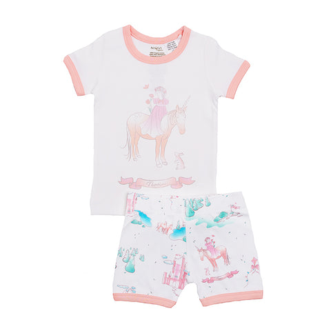 Organic Cotton Kids Short John Pajama Set - Springtime Princess