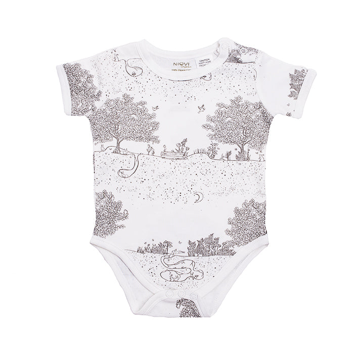 Organic Cotton Short Sleeve Bodysuit - Springtime Garden