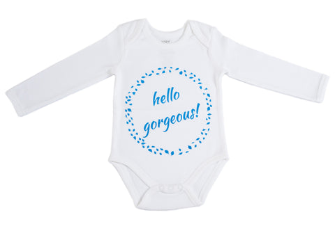 Organic Cotton Long Sleeve Bodysuit - HELLO GORGEOUS BLUE