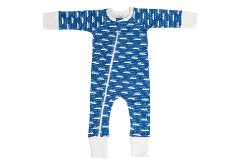 Organic Zip Romper - SNOW MOUNTAIN NAVY