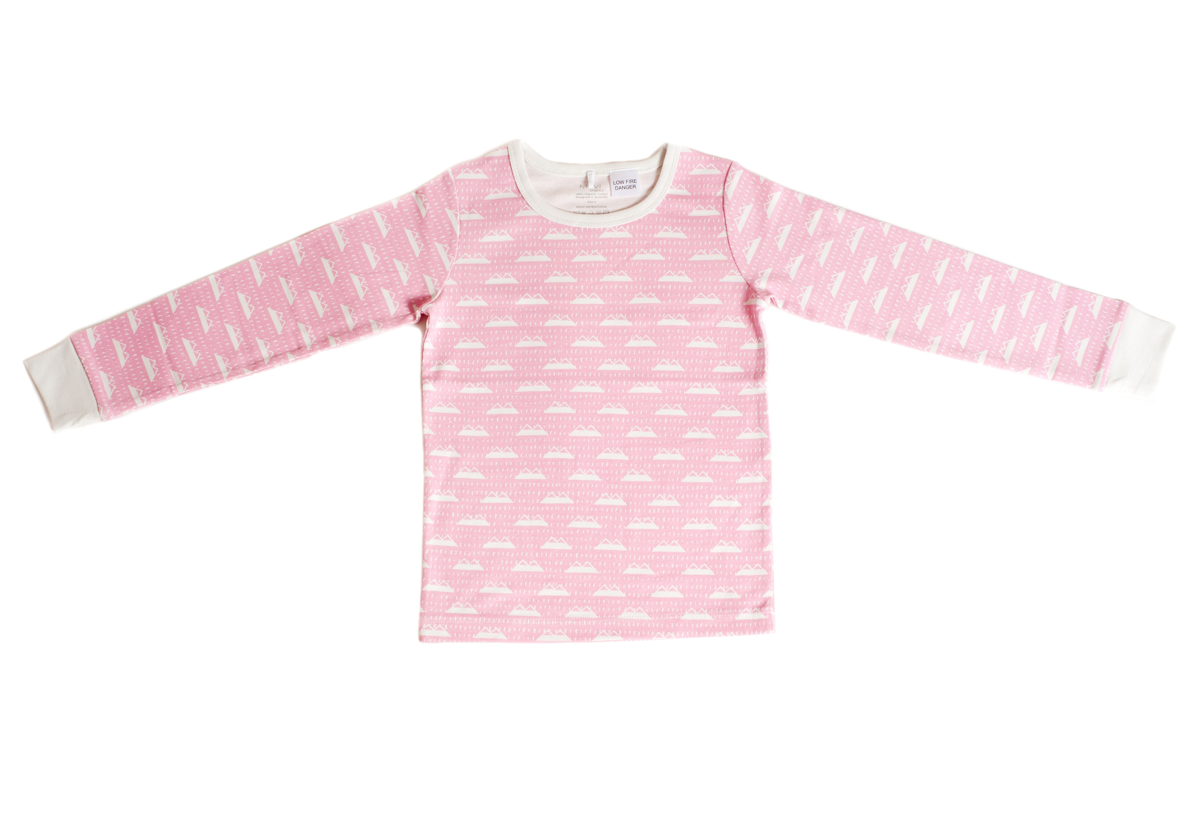 Organic Cotton Kids Long John PJ Set -  SNOW MOUNTAIN CANDYPINK