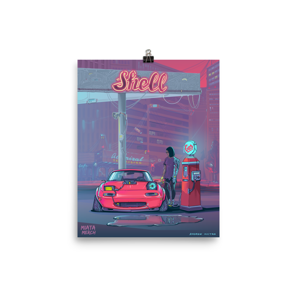 RetroFuturistic Gas Station Poster