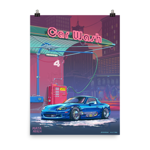 RetroFuturistic Car Wash Poster