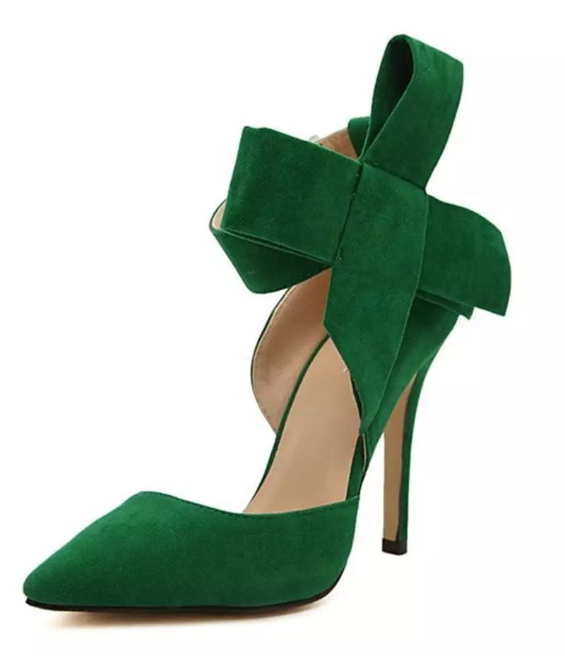 Pumps, Zizi big bow pointed ankle strap heels