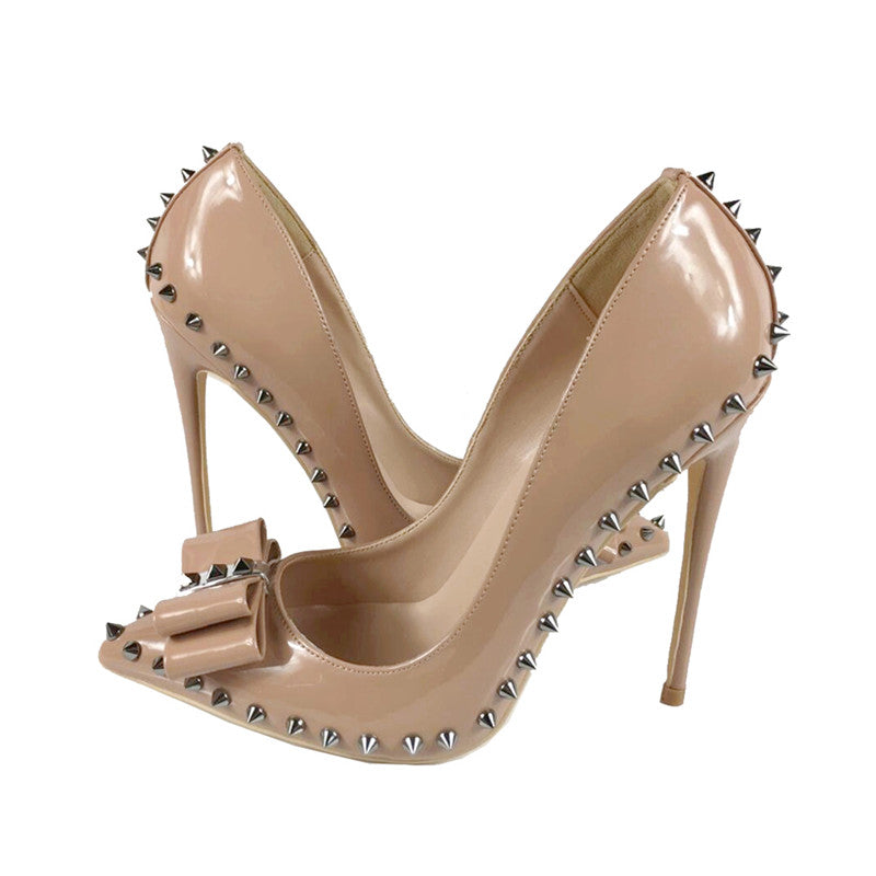 Pumps, Adley nude rivet pointed toe bow heels