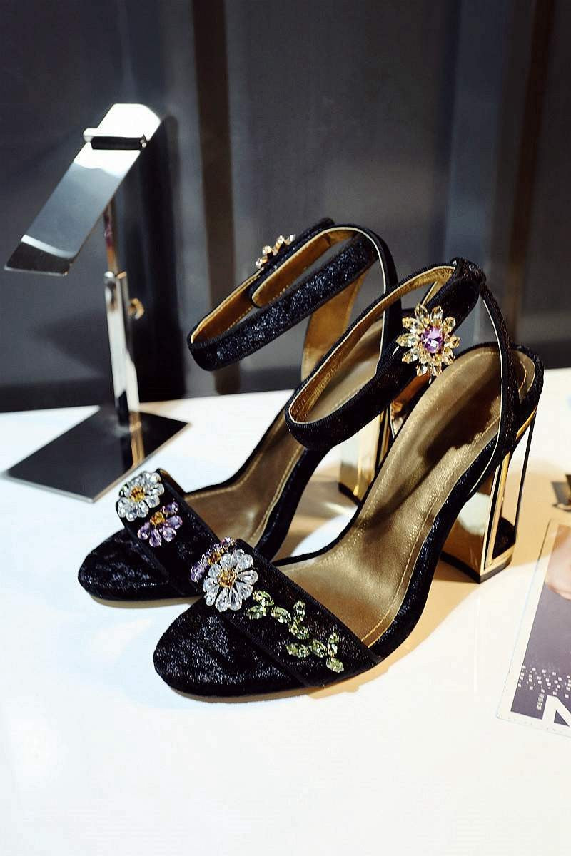 Sandals, Myra flower buckle crystal sandal heels