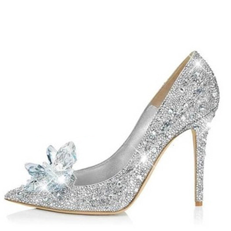 Pumps, Ruby silver rhinestone crystal pointed heels