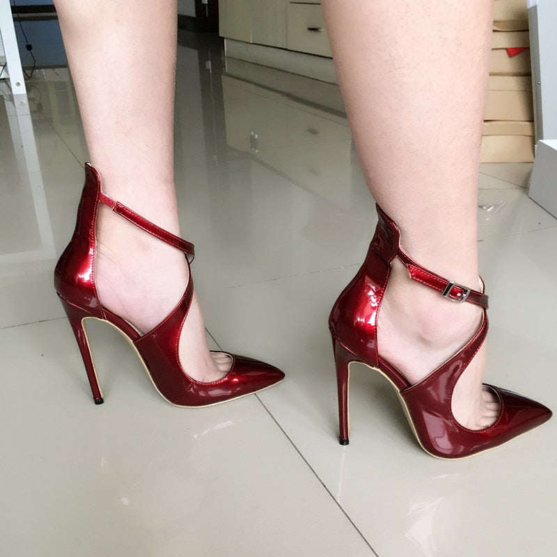 Pumps, Crayl cross-tied patent pointed heels
