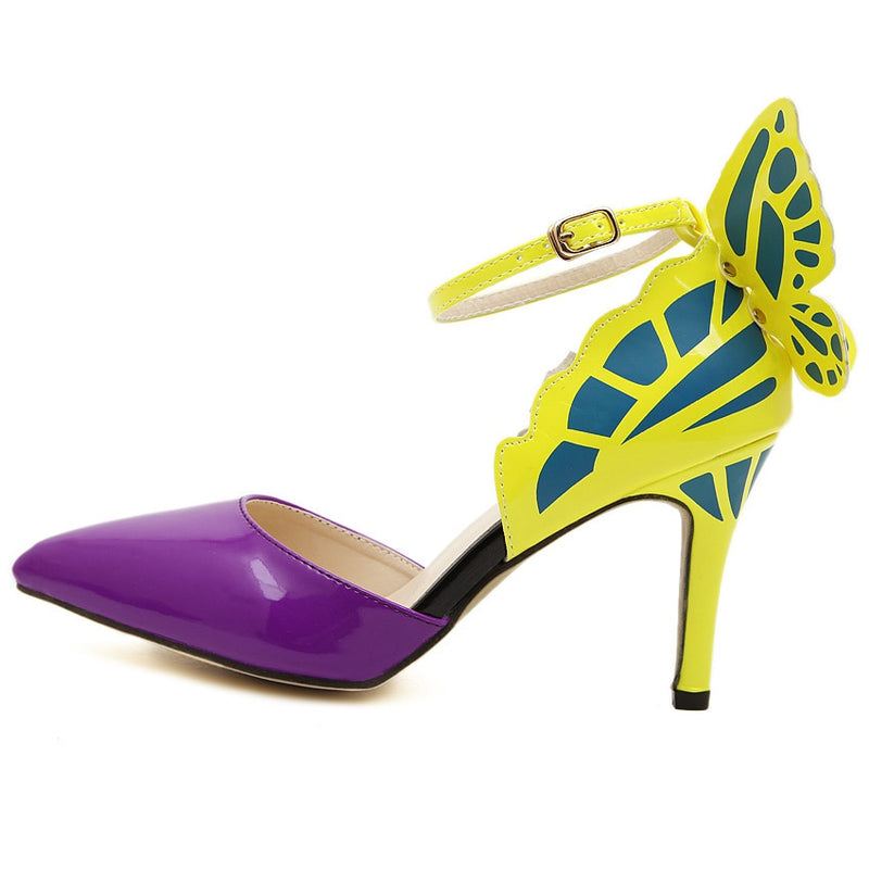 Pumps, Dream butterfly buckle pointed heels