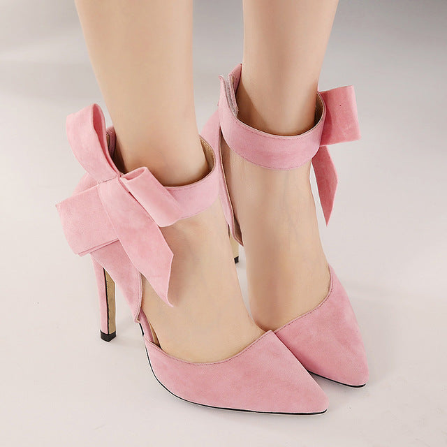 Big bow pointed toe high heels sandals