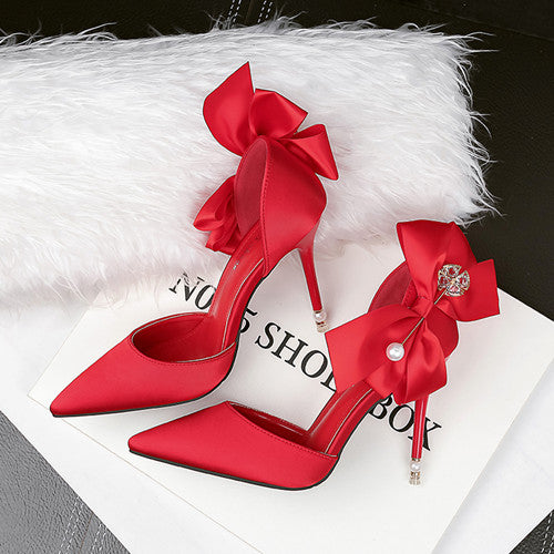 Pumps, Oliva pearl pointed bow heels