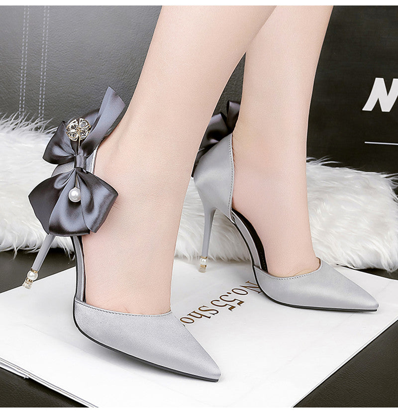 Luxury Pearl rhinestones Bride shoes Fashion Butterfly-know High heels