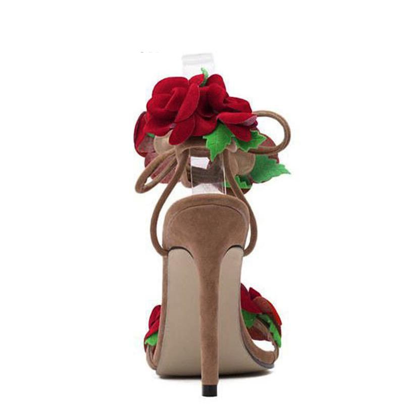 Sandals, Ruth red roses apricot sandal heels