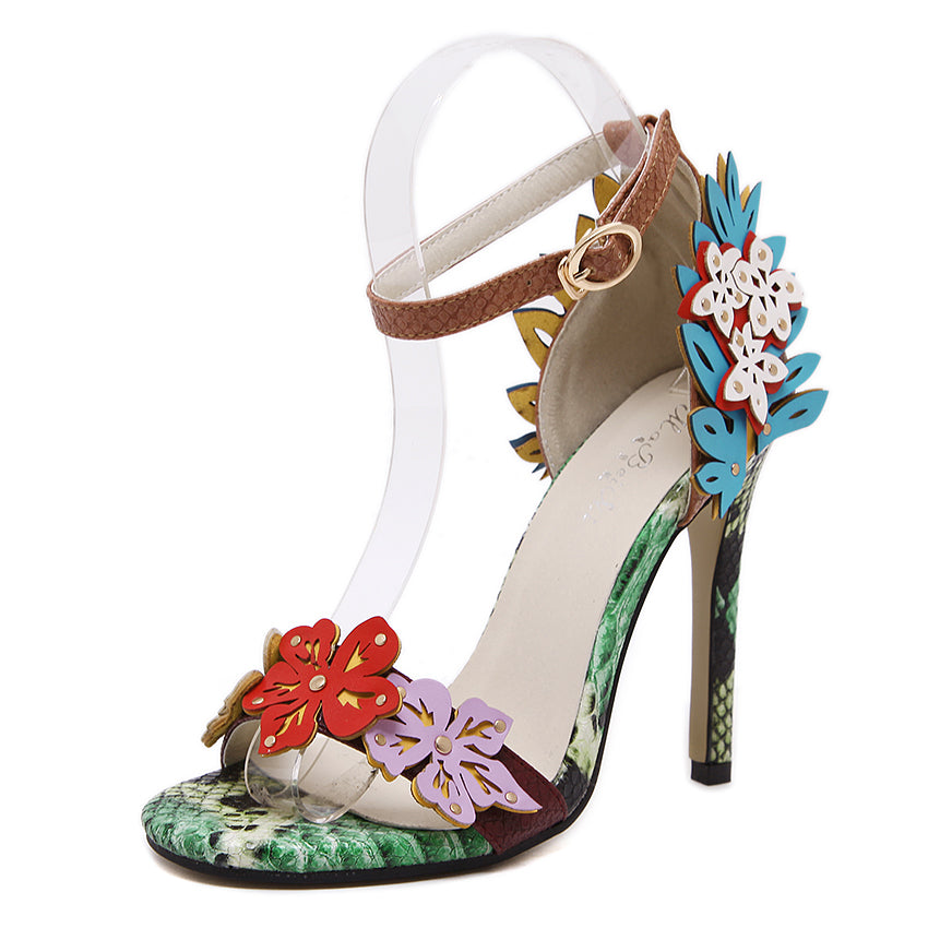High heels, Appliques flower multi color ankle strap sandals