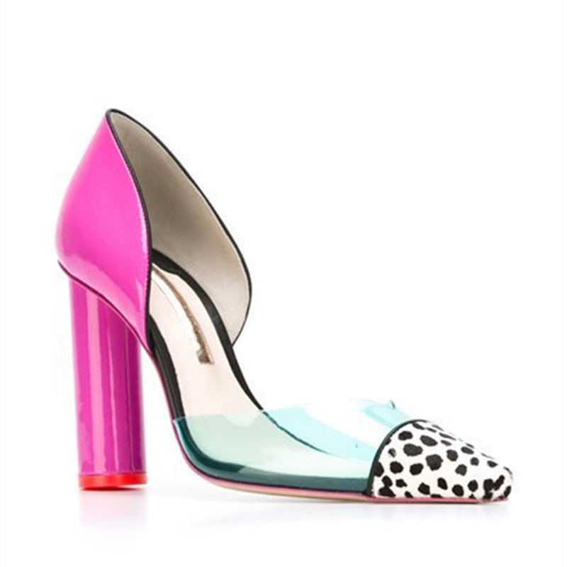 Pumps, Frida polka dot clear candy pointed chunky pink heels