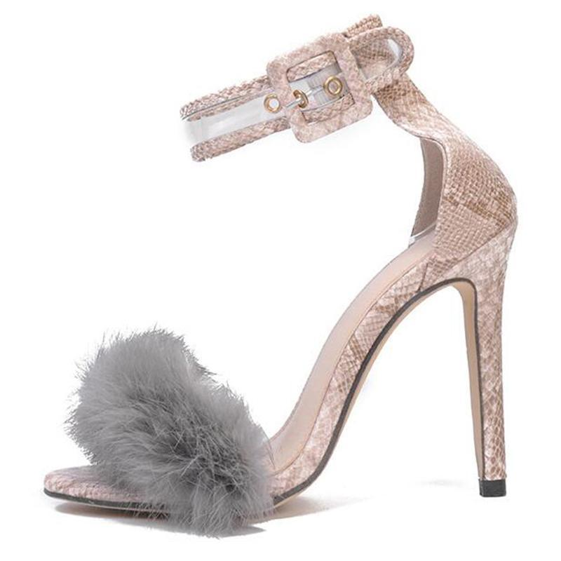High heels, Sandals High Heels Footwear Fur Ankle Strap Gladiator Sandals Female Wedding Sexy Shoes Stiletto
