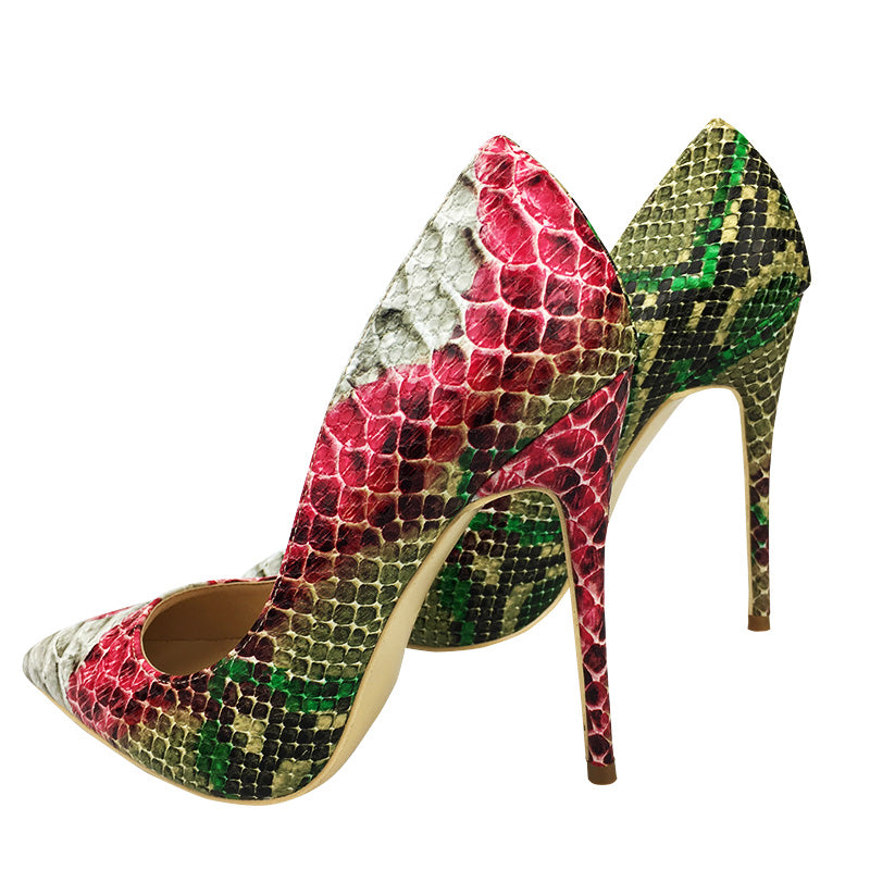 High heels, Pointed snake print  high multi color heel pumps