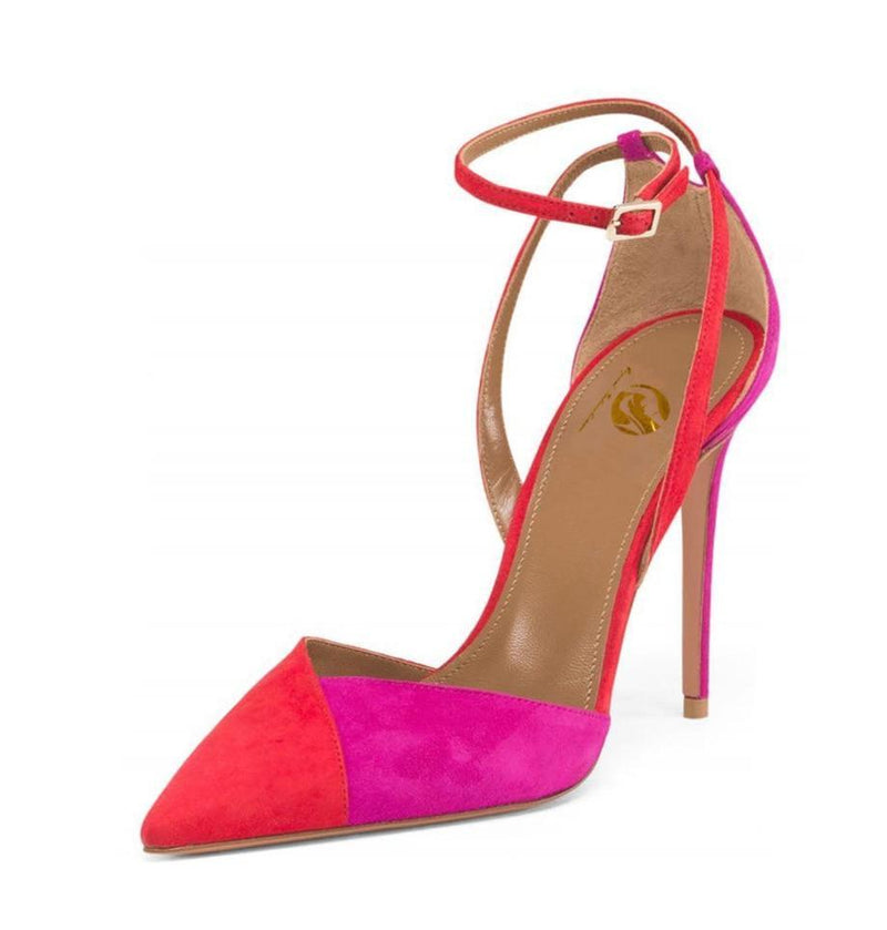 Pumps, Dora colorful ankle strap pointed hees