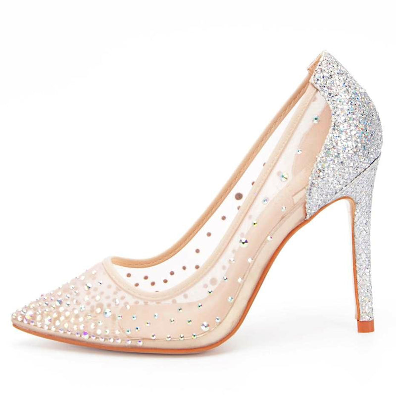 Pumps, Molly mesh crystal pointed heels