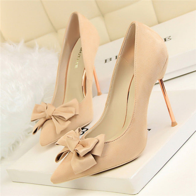 Pumps, Yareli bowtie flock pointed toe heels