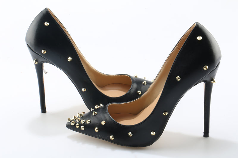 High heels, Rivet pointed toe gold spike pumps classical high heels