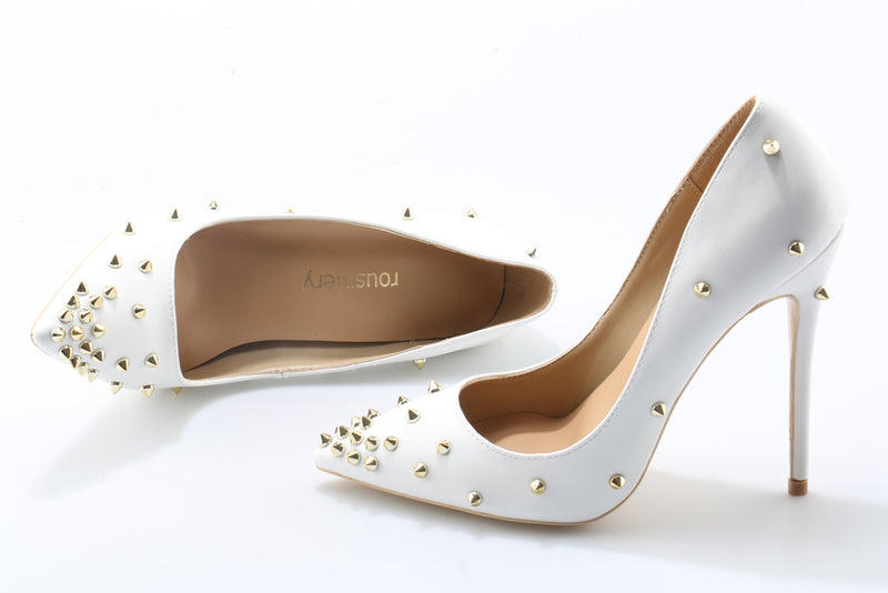Pumps, Chloe rivet pointed gold spike heels